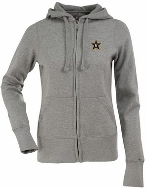 Vanderbilt Womens Zip Front Hoody Sweatshirt (Color: Gray)
