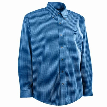 Villanova Mens Esteem Check Pattern Button Down Dress Shirt (Team Color: Royal)