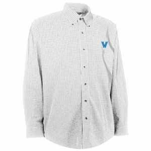 Villanova Mens Esteem Check Pattern Button Down Dress Shirt (Color: White) - Small