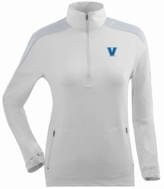 Villanova Womens Succeed 1/4 Zip Performance Pullover (Color: White)
