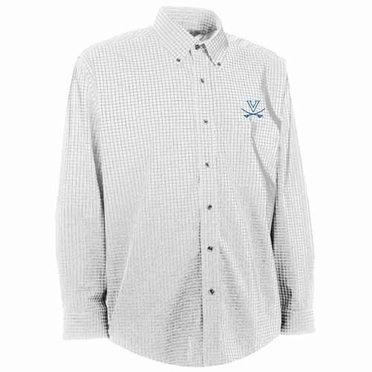 Virginia Mens Esteem Check Pattern Button Down Dress Shirt (Color: White)
