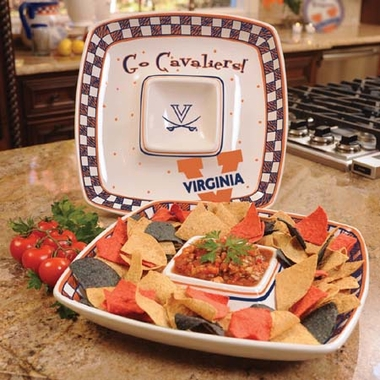 Virginia Gameday Ceramic Chip and Dip Platter