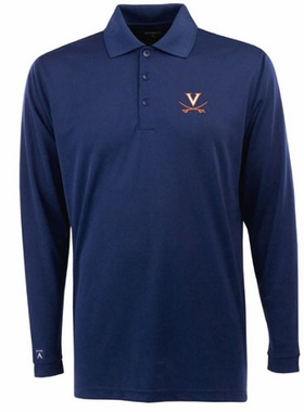 Virginia Mens Long Sleeve Polo Shirt (Team Color: Navy)