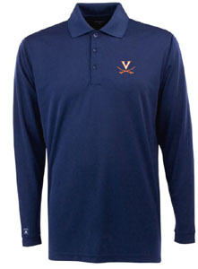 Virginia Mens Long Sleeve Polo Shirt (Color: Navy) - Large