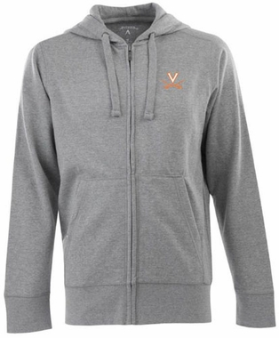Virginia Mens Signature Full Zip Hooded Sweatshirt (Color: Gray)