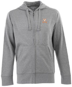 Virginia Mens Signature Full Zip Hooded Sweatshirt (Color: Gray) - Small