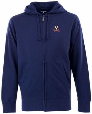 Virginia Mens Signature Full Zip Hooded Sweatshirt (Team Color: Navy)