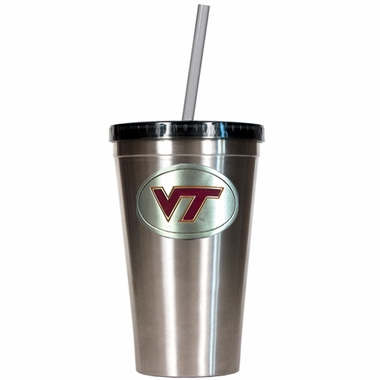 Virginia Tech 16oz Stainless Steel Insulated Tumbler with Straw