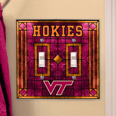 Virginia Tech Art Glass Lightswitch Cover (Double)