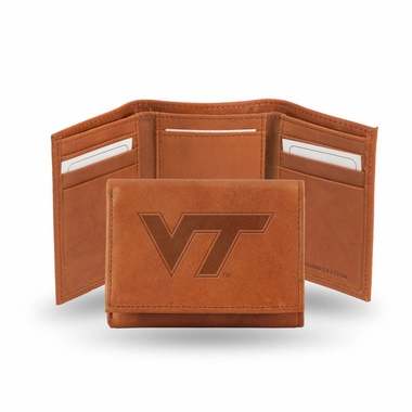Virginia Tech Embossed Leather Trifold Wallet