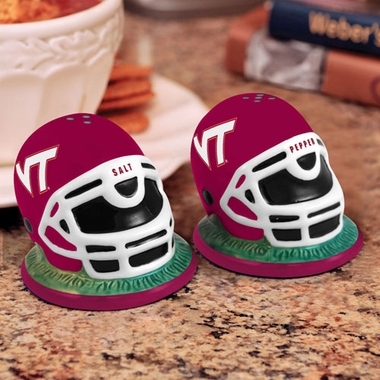 Virginia Tech Helmet Ceramic Salt and Pepper Shakers