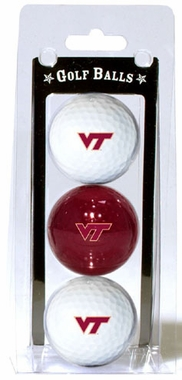 Virginia Tech Set of 3 Multicolor Golf Balls
