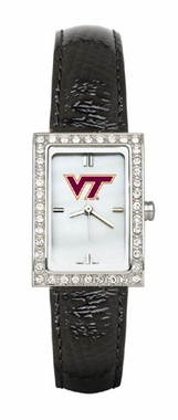 Virginia Tech Women's Black Leather Strap Allure Watch