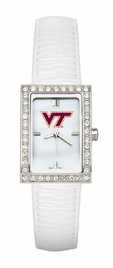 Virginia Tech Women's White Leather Strap Allure Watch