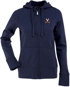 Virginia Womens Zip Front Hoody Sweatshirt (Color: Navy) - Small