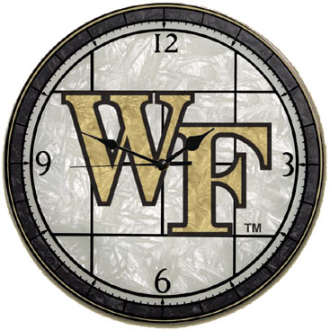 Wake Forest Art Glass Clock