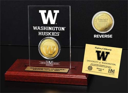 Washington Huskies University of Washington 24KT Gold Coin Etched Acrylic