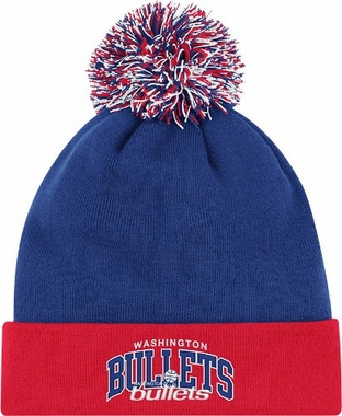 Washington Bullets Arched Logo Vintage Cuffed Pom Hat