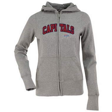 Washington Capitals Applique Womens Zip Front Hoody Sweatshirt (Color: Gray)