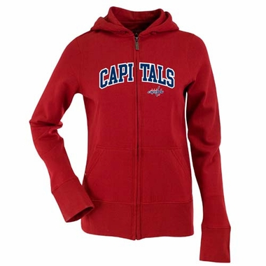 Washington Capitals Applique Womens Zip Front Hoody Sweatshirt (Color: Red)
