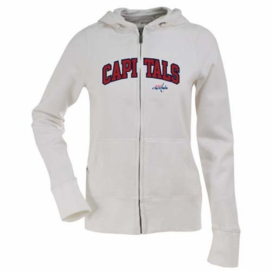 Washington Capitals Applique Womens Zip Front Hoody Sweatshirt (Color: White)
