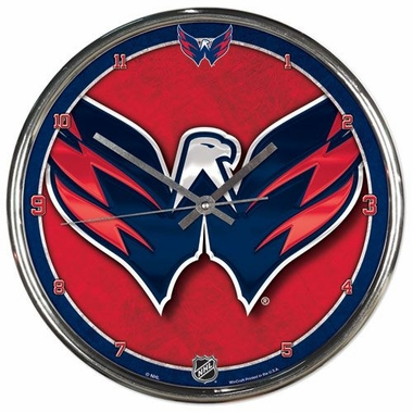 Washington Capitals Round Chrome Wall Clock