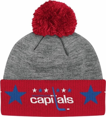 Washington Capitals Jersey Stripe Vintage Cuffed Pom Hat (Grey)