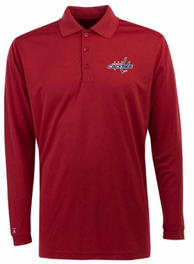 Washington Capitals Mens Long Sleeve Polo Shirt (Color: Red)