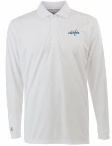Washington Capitals Mens Long Sleeve Polo Shirt (Color: White) - X-Large