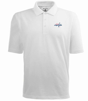 Washington Capitals Mens Pique Xtra Lite Polo Shirt (Color: White)