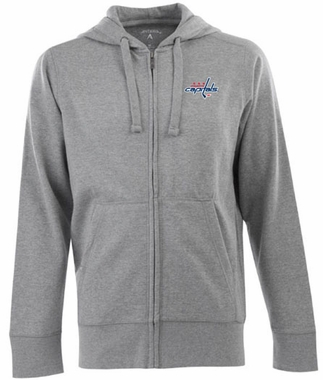 Washington Capitals Mens Signature Full Zip Hooded Sweatshirt (Color: Gray)