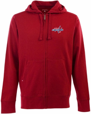 Washington Capitals Mens Signature Full Zip Hooded Sweatshirt (Team Color: Red)