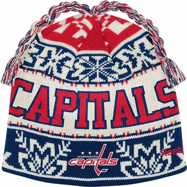 Washington Capitals Snowflake Pattern Tassel Knit Hat