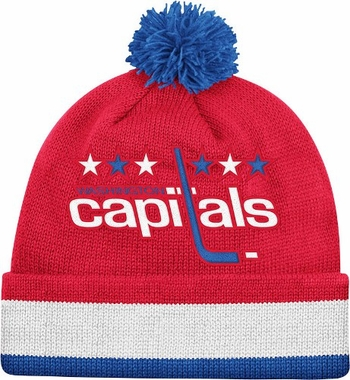 Washington Capitals Vintage Jersey Stripe Cuffed Knit Hat w/ Pom