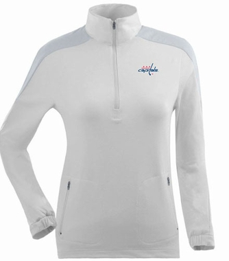 Washington Capitals Womens Succeed 1/4 Zip Performance Pullover (Color: White)