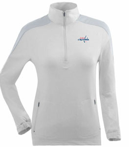 Washington Capitals Womens Succeed 1/4 Zip Performance Pullover (Color: White) - Small