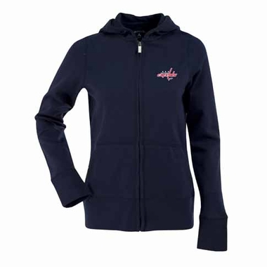 Washington Capitals Womens Zip Front Hoody Sweatshirt (Color: Black)