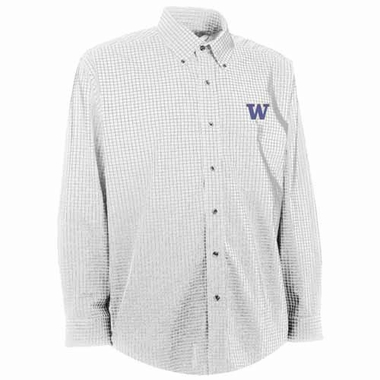 Washington Mens Esteem Check Pattern Button Down Dress Shirt (Color: White)