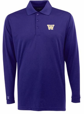 Washington Mens Long Sleeve Polo Shirt (Team Color: Purple)