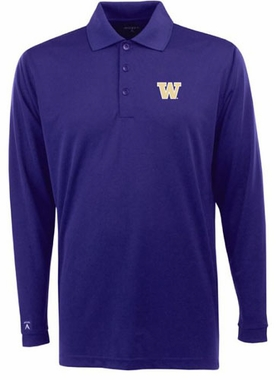 Washington Mens Long Sleeve Polo Shirt (Color: Purple)