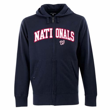 Washington Nationals Mens Applique Full Zip Hooded Sweatshirt (Color: Navy)