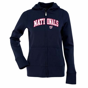 Washington Nationals Applique Womens Zip Front Hoody Sweatshirt (Team Color: Navy)