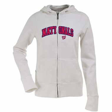 Washington Nationals Applique Womens Zip Front Hoody Sweatshirt (Color: White)