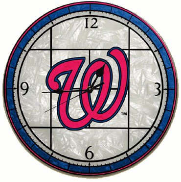 Washington Nationals Art Glass Clock