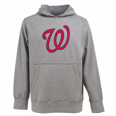 Washington Nationals Big Logo Mens Signature Hooded Sweatshirt (Color: Gray)
