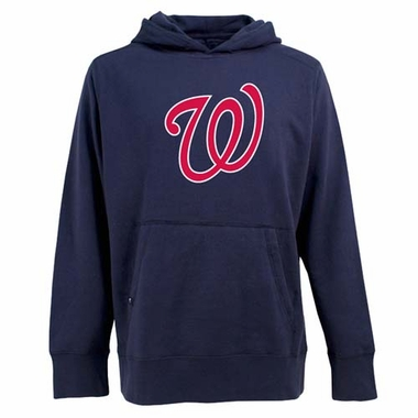 Washington Nationals Big Logo Mens Signature Hooded Sweatshirt (Team Color: Navy)