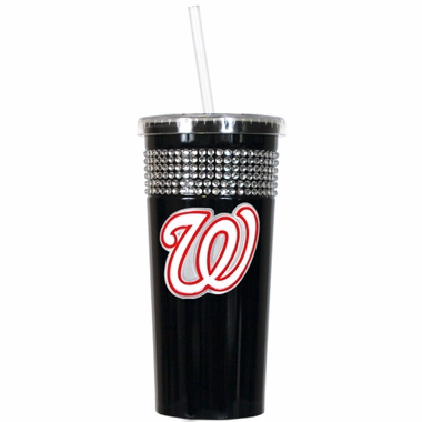 Washington Nationals Black Bling Tumbler with Straw