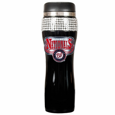 Washington Nationals Black Stainless Steel Bling Travel Tumbler
