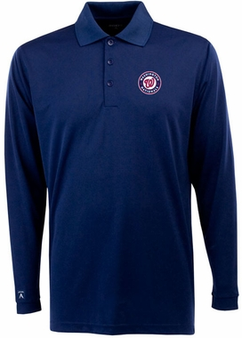 Washington Nationals Mens Long Sleeve Polo Shirt (Color: Navy)