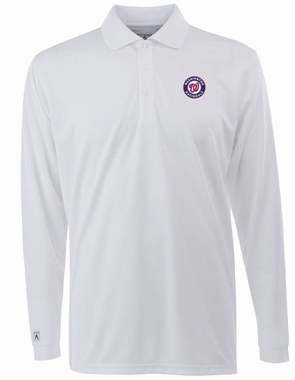 Washington Nationals Mens Long Sleeve Polo Shirt (Color: White)